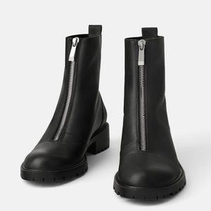 NWT ZARA Zippered Low Heel Ankle Boots Black 8